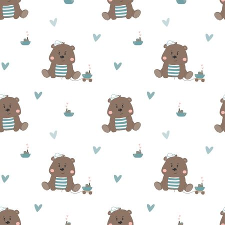 Cute bear cartoon baby seamless vector pattern. Funny kid animal repeat background for wallpaper and wallpaper design.