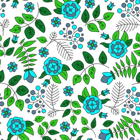 Seamless pattern with flowers and leaves. Vector spring template. Design for paper, cover, fabric, interior decor. 向量圖像