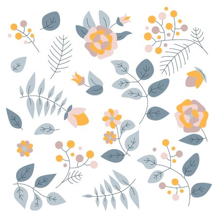 Vector floral set. Colorful floral collection with isolated leafs and flowers. Design for invitation, wedding or greeting cards. 向量圖像