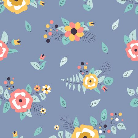 Seamless pattern with flowers, leaves and berries. Vector spring template. Design for paper, cover, fabric, interior decor.