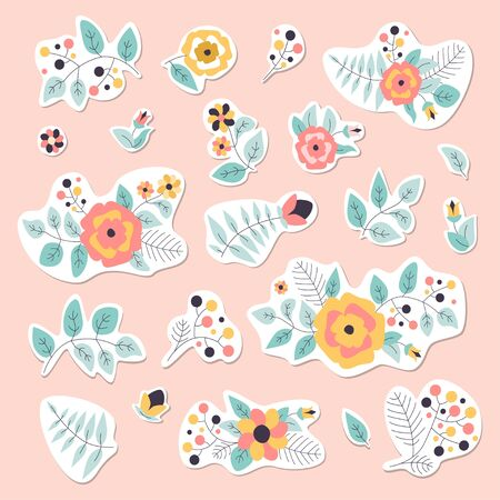 Flower stickers vector illustration. Floral elements. 向量圖像