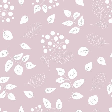 Cute vector leaf seamless pattern. Abstract print with leaves. Elegant beautiful nature ornament for fabric, wrapping and textile. Scrapbook purple and white paper. 向量圖像