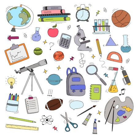 Back to School doodle set. Various school stuff - supplies for sport, art, reading, science, geography, biology, physics, mathematics, astronomy, chemistry. Vector isolated over white background. Çizim