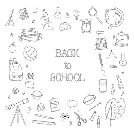 Back to School doodle set. Various school stuff - supplies for sport, art, reading, science, geography, biology, physics, mathematics, astronomy, chemistry. Vector isolated over white background. Illustration
