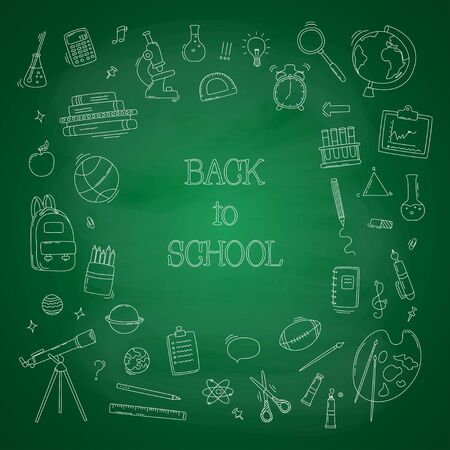Back to school big doodles set on green chalkboard. Vector illustration.