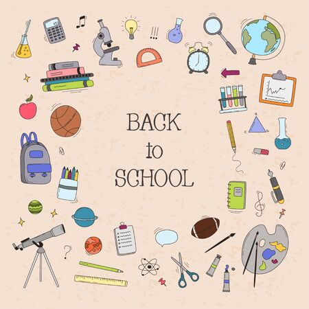 Back to School doodle set. Various school stuff - supplies for sport, art, reading, science, geography, biology, physics, mathematics, astronomy, chemistry. Vector illustration. Illustration