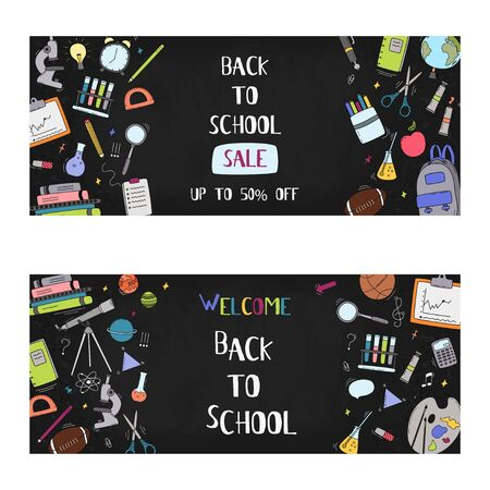 Vector back to school sale banner, poster background. Hand drawn doodle school supplies. Layout for discount labels, flyers and shopping. Çizim