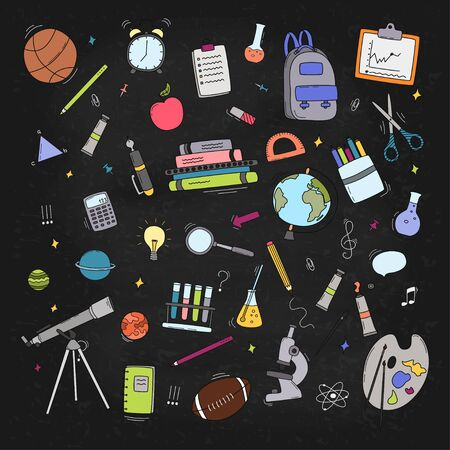 Back to School doodle set. Various school stuff - supplies for sport, art, reading, science, geography, biology, physics, mathematics, astronomy, chemistry. Vector isolated over black background. Illustration
