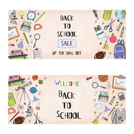 Back to school sale vector set of poster and banner with colorful title and elements for retail marketing promotion and education related. Vector illustration.