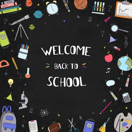 Welcome back to school text drawing by colorful in blackboard with school items and elements. Vector illustration banner. 向量圖像