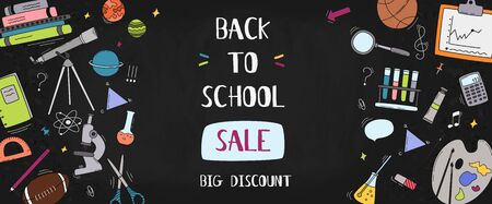 Blackboard with greeting. First day of school. Back to school sale horizontal banner. Vector illustration. 向量圖像