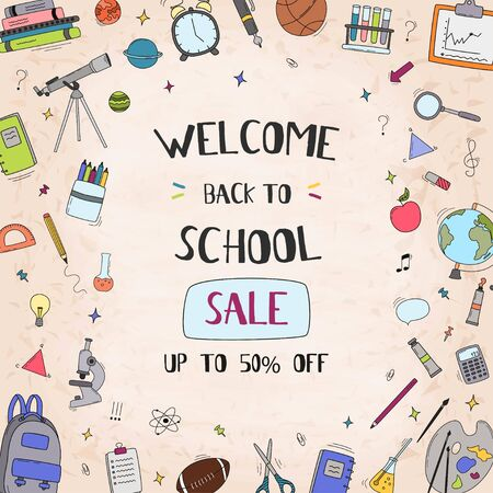 Back to school sale vector banner design with sale text, school elements and education items for discount promotion. Vector illustration.