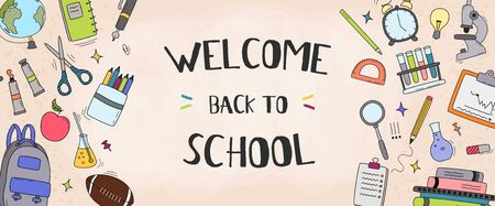 Back to school vector banner design with school elements and education items for discount promotion. Vector illustration.
