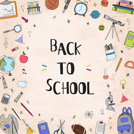 Back to school vector card design with school elements and education items for discount promotion. Vector illustration.