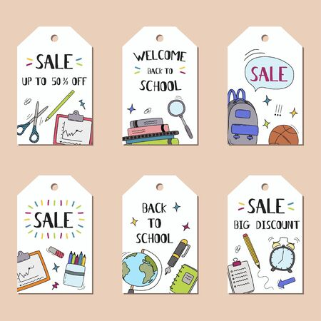 Back to school vector tags with school elements and education items for discount promotion. Vector illustration.