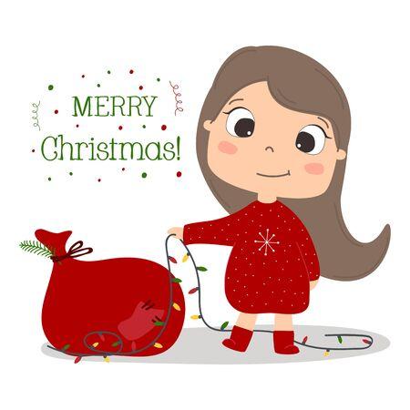 Cute girl with fairy light cartoon vector illustration. Christmas and New Year card.