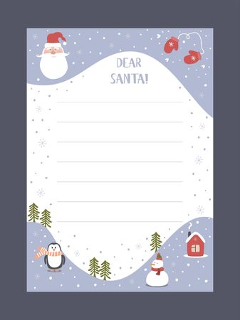 Christmas letter from Santa Claus template. layout in A4 size. Vector illustration.