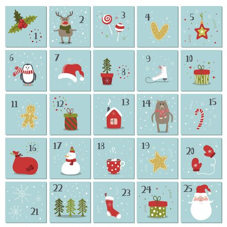 Merry Christmas and Happy new year illustration fo advent calendar. Cute winter vector illustration.