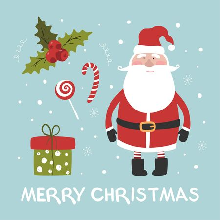Cute card with santa claus, gift, sweets, mistletoe and lettering merry christmas. Vector illustration.