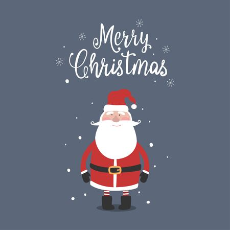 Greeting card with cute Santa Claus and lettering Merry Christmas. Vector illustration.