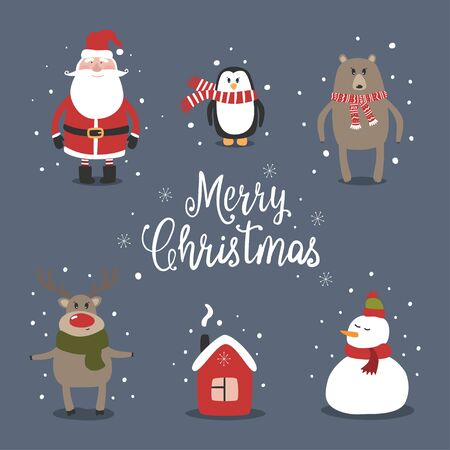 Christmas card with cute Santa, snowman and happy animals. Lettering Merry Christmas. Vector illustration. 向量圖像