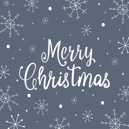 Merry Christmas lettering design with snowflakes. Vector illustration. 向量圖像