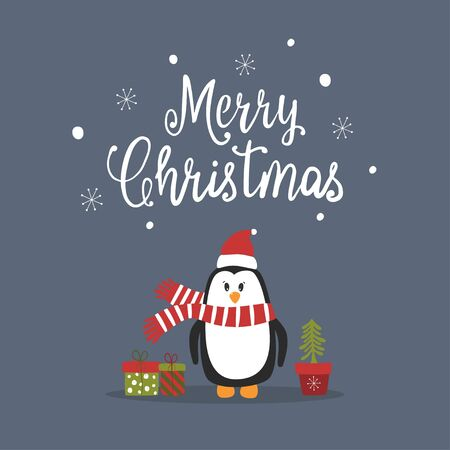 Cartoon cute penguin vector character. Christmas print with penguin and lettering Merry Christmas. Vector illustration.