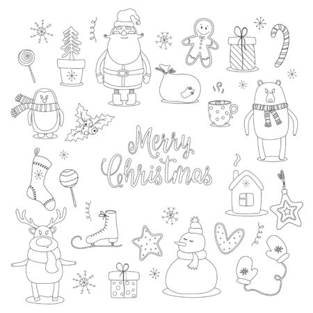 Doodle set of merry christmas and happy new year objects. Vector illustration.