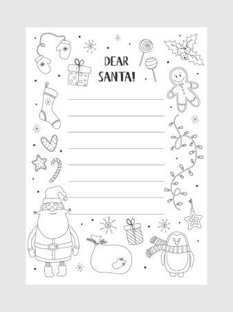 Elementi di natale di augurio di Natale del fumetto. Pagina da colorare. Una lettera al modello di Babbo Natale. Sfondo di Natale con un posto per i regali di Natale per la lista dei desideri di Babbo Natale. Illustrazione vettoriale.