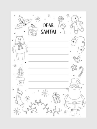 Cartoon Christmas wish christmas items. Coloring page. A letter to Santa Claus template. Christmas background with a place for Christmas gifts for Santa wish list. Vector illustration.