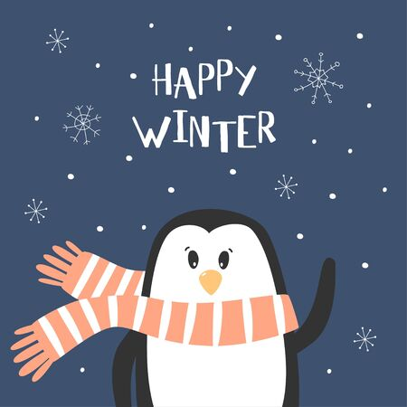 Cartoon cute penguin vector character. Christmas print with penguin and lettering Happy Winter. Vector illustration.