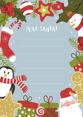 Cartoon Christmas wish christmas items. A letter to Santa Claus template. Christmas background with a place for Christmas gifts for Santa wish list. Vector illustration.