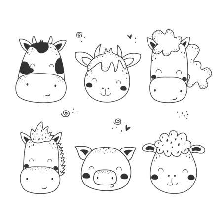 Set of hand drawn cute animals.  cow, horse, sheep, donkey, pig, goat. Illustration