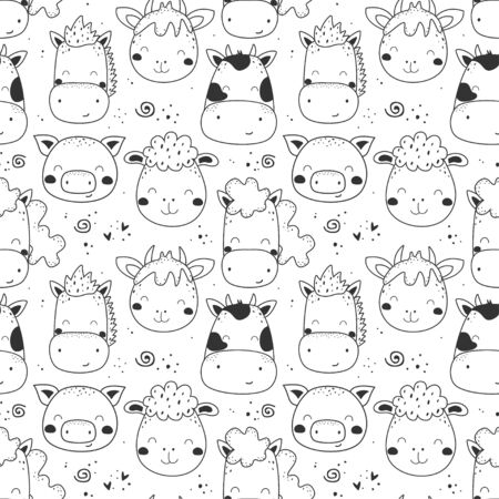 Seamless pattern with hand drawn cute animals. cow, horse, sheep, donkey, pig, goat.