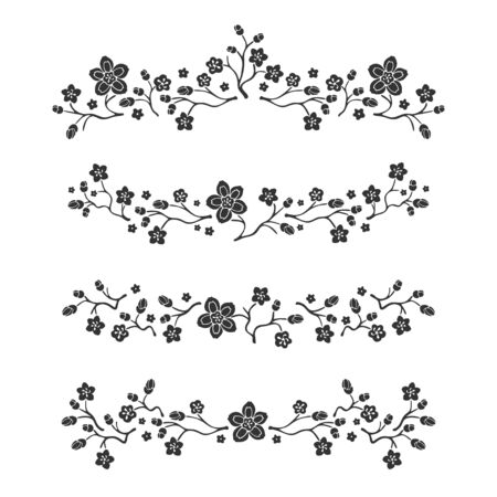 Hand drawn borders. Line sketch dividers with decorative flower elements. Floral text doodle decoration, scribble frame, vector set.