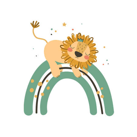 Cute baby lion on rainbow. Use this clipart to create baby shower invites, nursery art, birthday decor, greeting cards, children's clothing. Vector illustration.