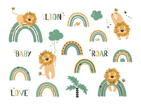 Set of cute lion clip art. Use this clipart to create baby shower invites, nursery art, birthday decor, greeting cards, children's clothing. Vector illustration.