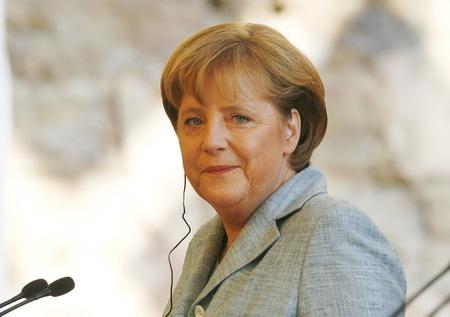 Palma de Mallorca, Spain - January 31, 2008 - German chancellor Angela Merkel smiles during a media comference