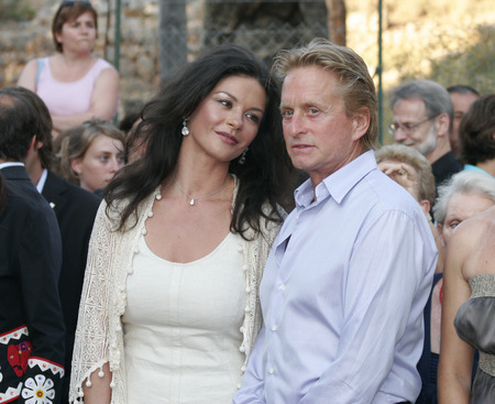 Mallorca, Spain - July 2, 2006 - US actors Catherine Zeta Jones and husband Michael Douglas seen on a public event in the spanish island of Majorca