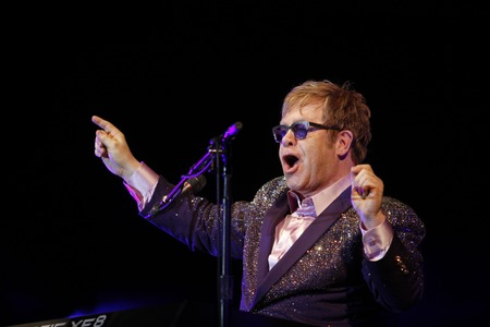 Ibiza, Spain - July 2, 2012 - British musician, singer and composer sir Elton John performs live during the Ibiza123 music festival