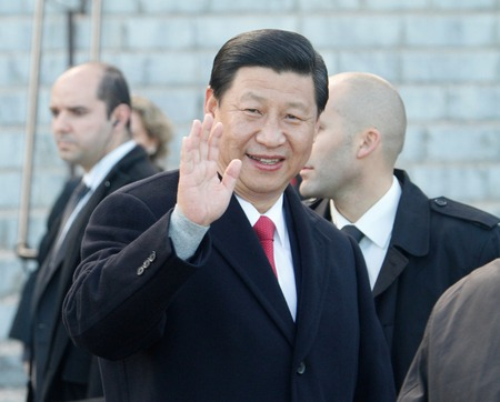 Palma de Mallorca, Spain - November 23, 2010 - Chinese Prime minister Xi Jinping waves to the crowd during a commercial visit to the island of Majorca