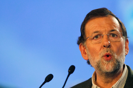 rajoy: Palma de Mallorca, Spain - November 9, 2011 - Spains prime Minister Mariano Rajoy gestures during a political rally meeting during Spanish electoral campaign in the island of Mallorca after summer meeting with king Felipe during the monarch summer holiday