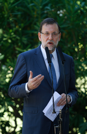 rajoy: Spains Prime minister Mariano Rajoy speaks to press after a meeting at Marivent Palace in the Spanish island of Mallorca, on Friday 13, 2013. Problems such as recent Gibraltar crisis between Spain and United Kingdom or social problems have been treated du