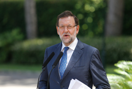 Palma de Mallorca, Spain - August 8, 2014 - Spain Prime minister Mariano Rajoy speak during a media comference after his summer meeting at the Marivent Palace in the spanish island of Mallorca.