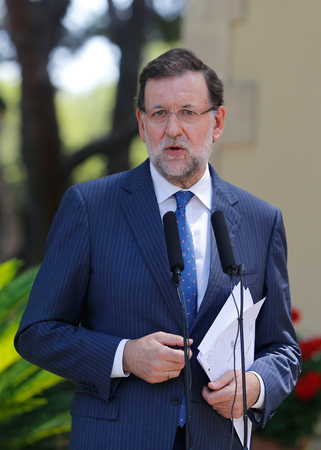 rajoy: Palma de Mallorca, Spain - August 8, 2014 - Spain Prime minister Mariano Rajoy speak during a media comference after his summer meeting at the Marivent Palace in the spanish island of Mallorca.