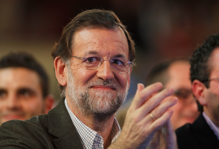 rajoy: Palma de Mallorca, Spain - November 9, 2011 - Spains prime Minister Mariano Rajoy gestures during a political rally meeting during Spanish electoral campaign in the island of Mallorca