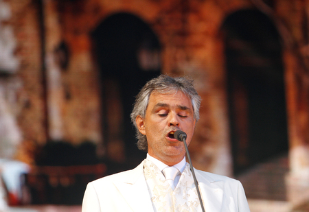 Palma de Mallorca, Spain - September 4, 2010 - Italian singer Andrea Bocelli performs live in the Spanish Balearic island of Palma de Mallorca during a stage on his world tour
