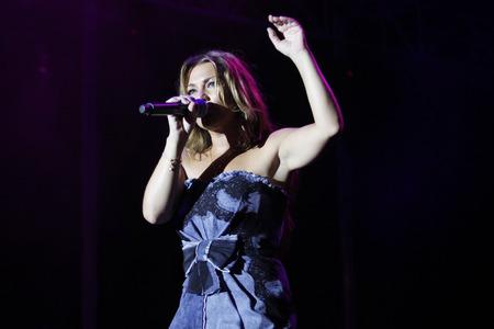 Palma de Mallorca, Spain - August 25, 2010 - Amaia Montero, former vocalist of the Spanish pop-band La Oreja de Van Gogh, performs live in Palma de Mallorca.