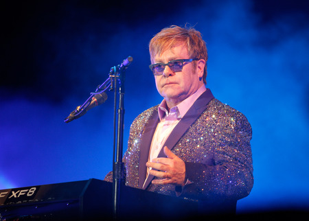 sir: Ibiza, Spain - July 2, 2012 - British musician, singer and composer sir Elton John performs live during the Ibiza123 music festival