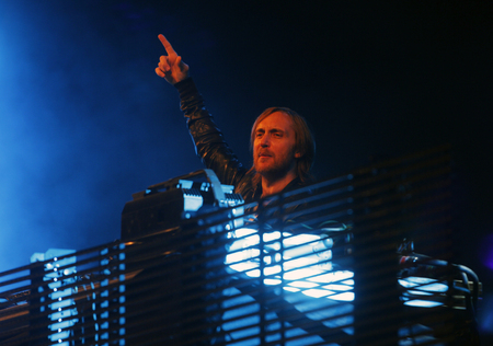 Ibiza, Spain - July 2, 2012 - French dj David Guetta performs live at Ibiza 123 music festival. Éditoriale